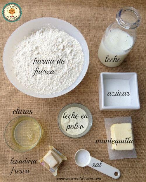 Ingredientes pan de leche casero
