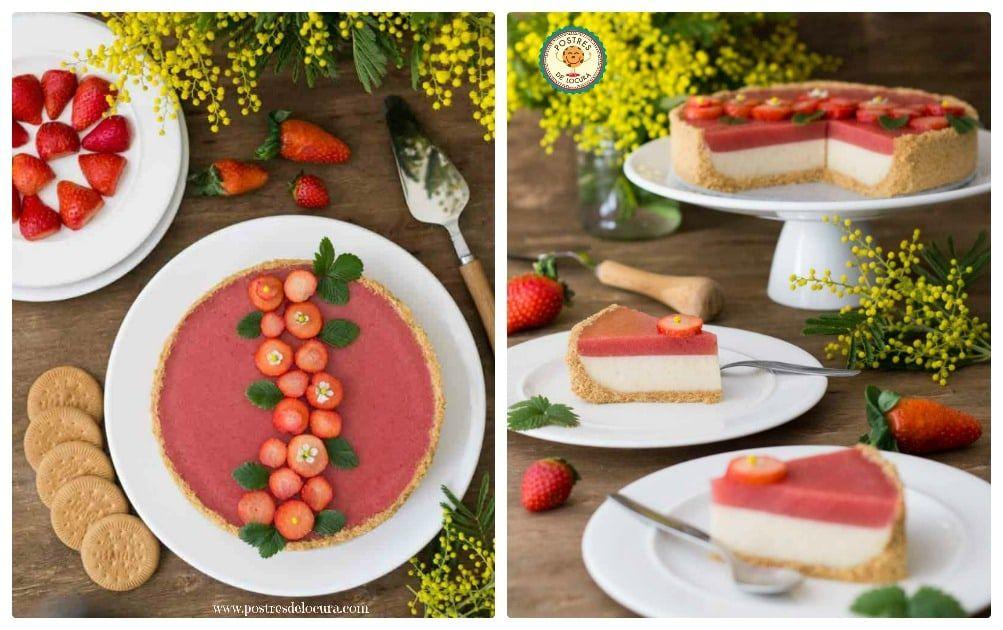 Tarta de Panna Cotta y fresas sin horno