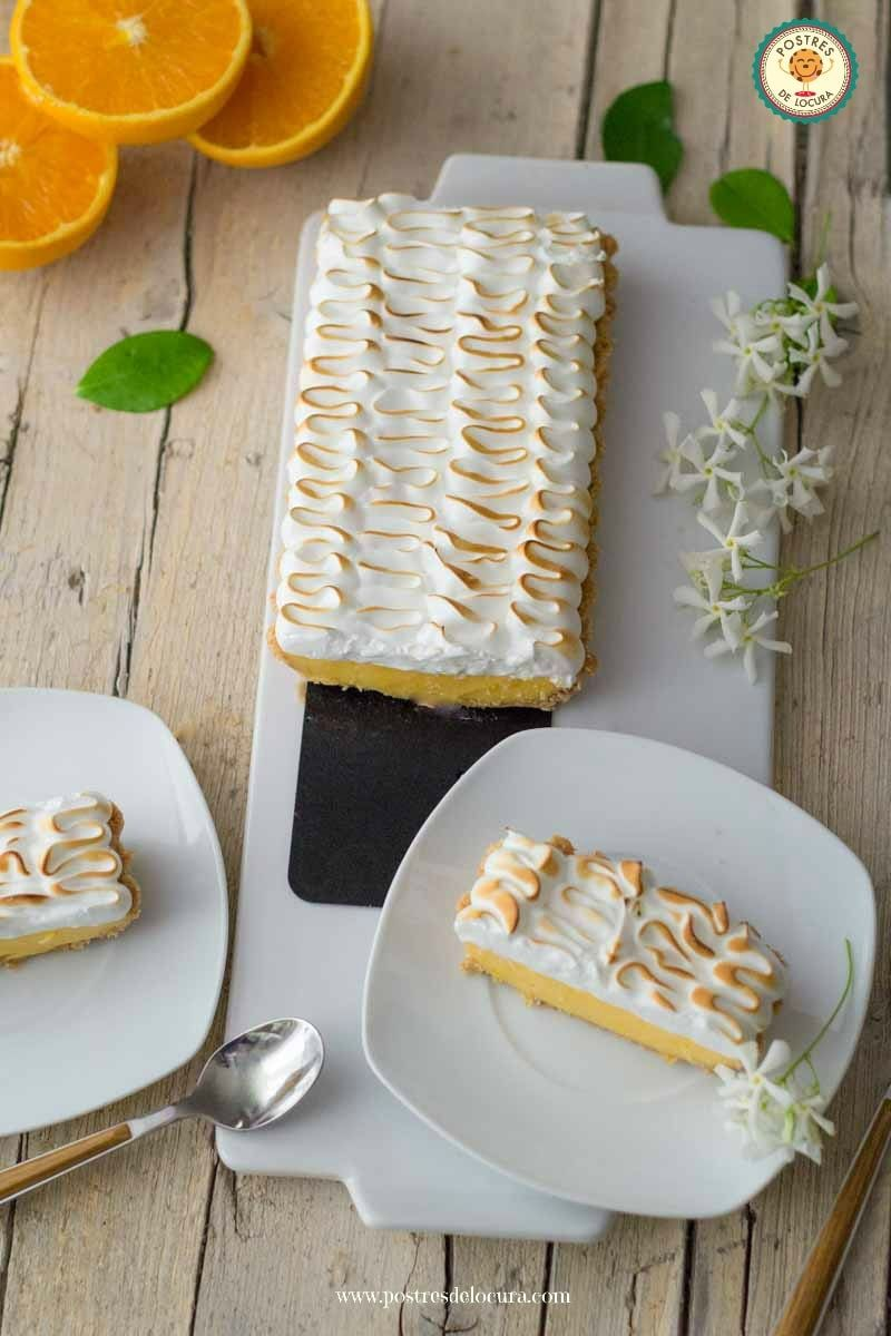 Porciones Tarta de crema de naranja y merengue