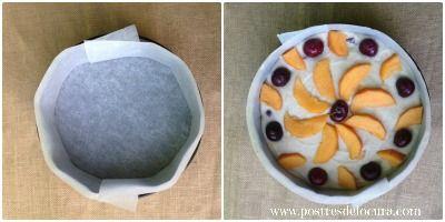 Preparacion de bizcocho de yogur griego, melocoton y cerezas