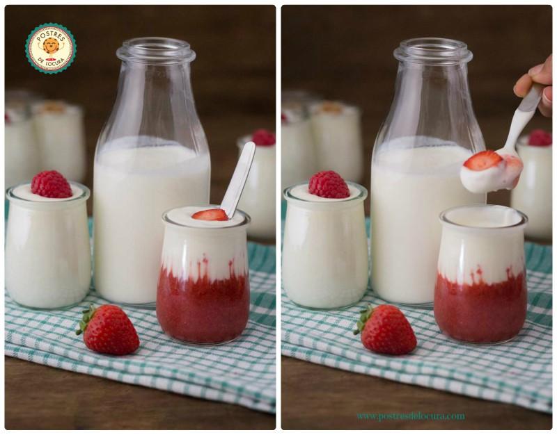 Yogur casero con fresas