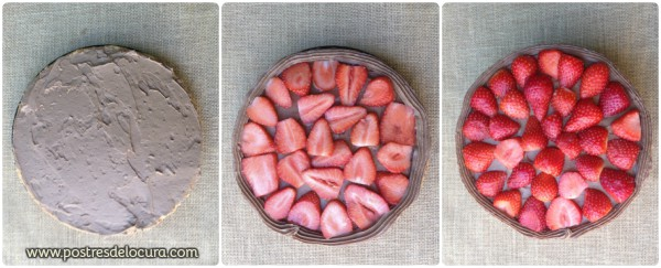 Montaje tarta con fresas y chocolate