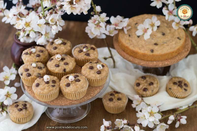 Muffins de platano, yogur y chocolate