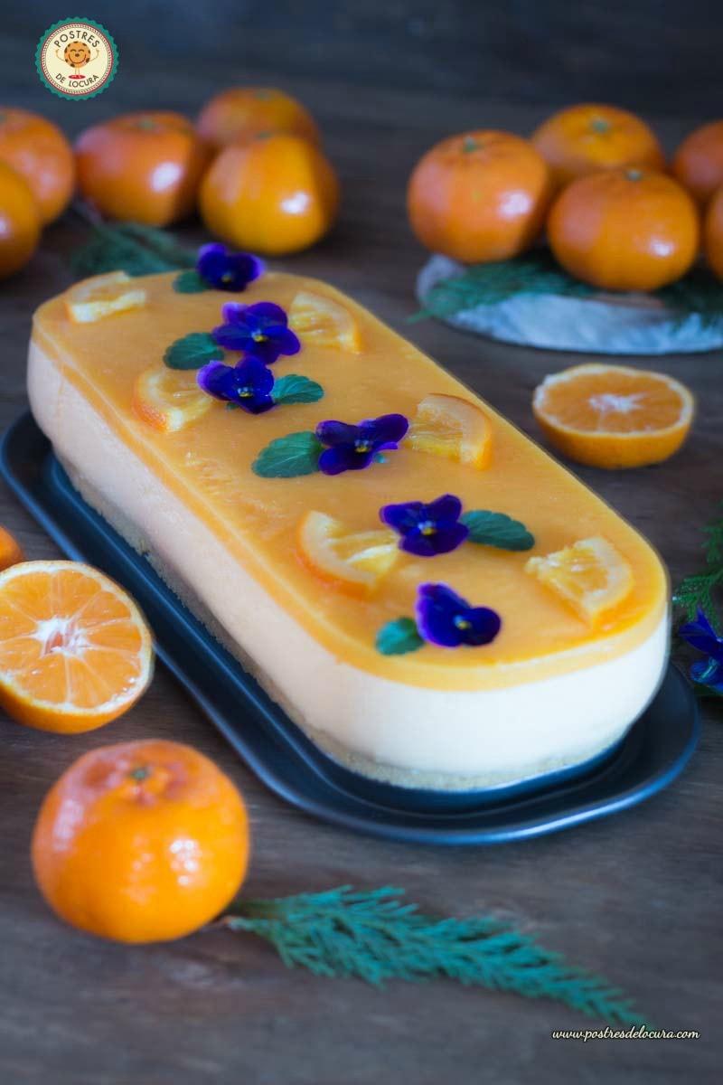 Tarta mousse de mandarina, postre facil para Nochevieja