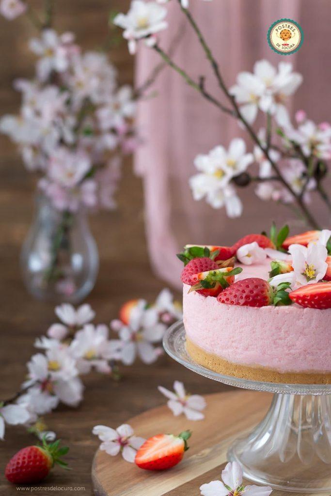 Cheesecake de fresas sin horno fácil