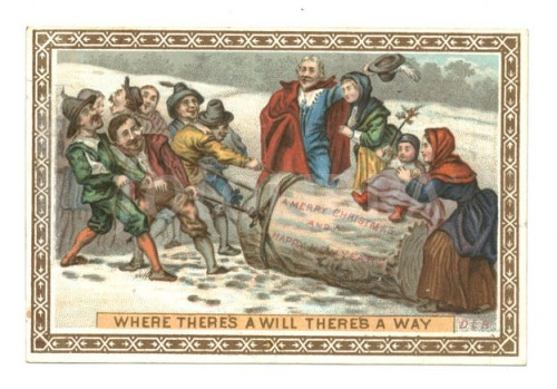 Victorian Yule Log Christmas card c 1870