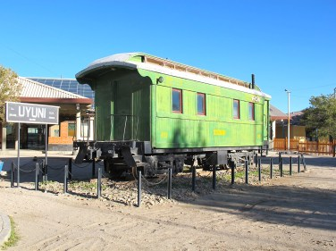 Old passenger carriage preserved at the city train station, Uyuni, Bolivia