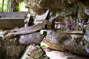 Burial cave called Londa in Tana Toraja, Indonesia, with tau-tau statues and skulls