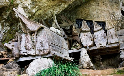 Coffins resting on wooden beams hammered into the rock