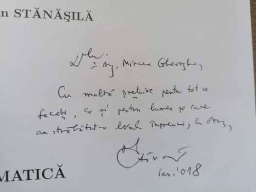 Autograf primit de la dom' Profesor