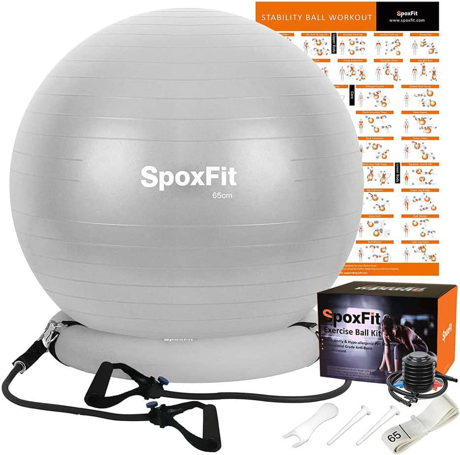 SpoxFit Exercise Ball Chair with Resistance Bands