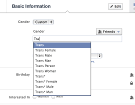 Facebook Gender Options