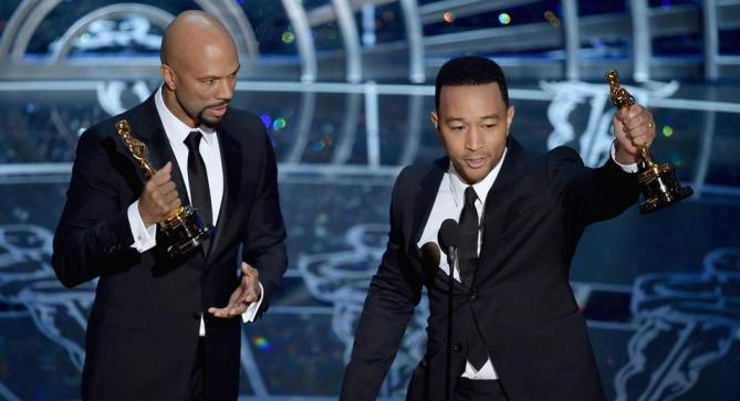 "Common and John Legend accept their award for Best Original for Selma's ""Glory"""