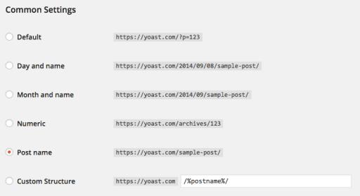 настройки на урл адрес WordPress