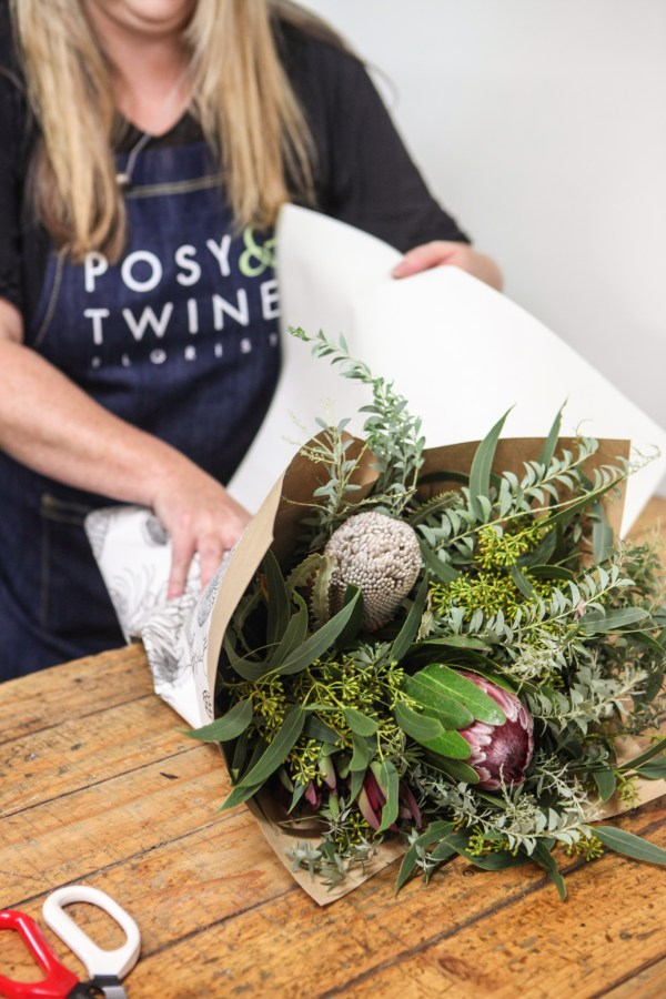 Posy & Twine creating a native flower bouquet