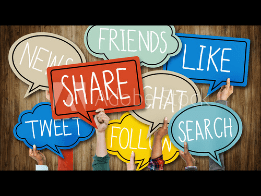Placards displaying: Share, Tweet, Like, Search etc.