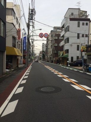 A street in Haneda. They drive on the left here