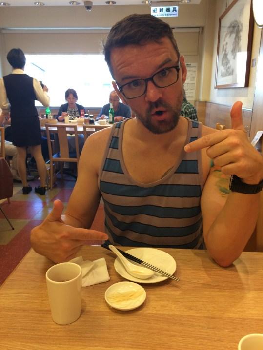 Enjoying some Ding Tai Fong soup dumplings