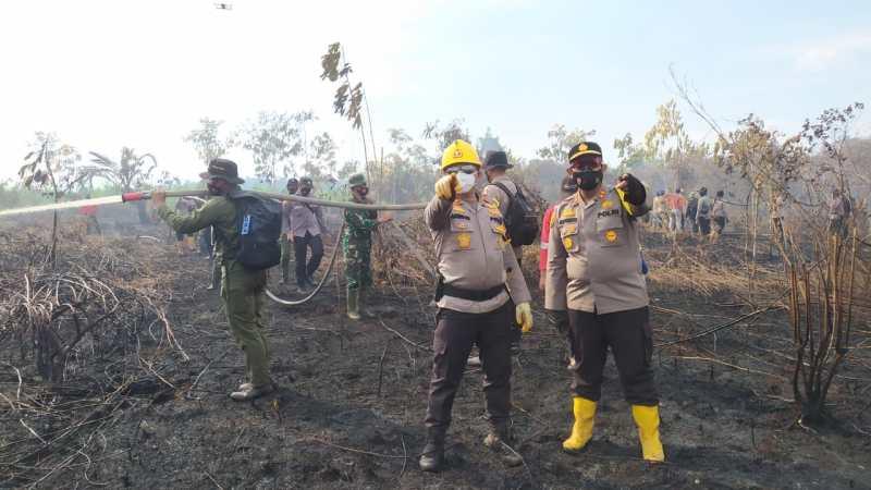 Tinjau Karhutla di Tasik Putripuyu, Kapolda Riau Ikut Padamkan Api