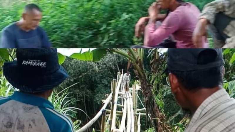 Bermodal Bambu dan Tali, Warga Tanjung Nagari Koto Tuo Bangun Jembatan Darurat
