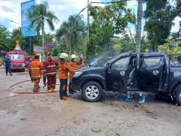 Mobil Terbakar di Parkiran MPP Diduga Korsleting Mesin
