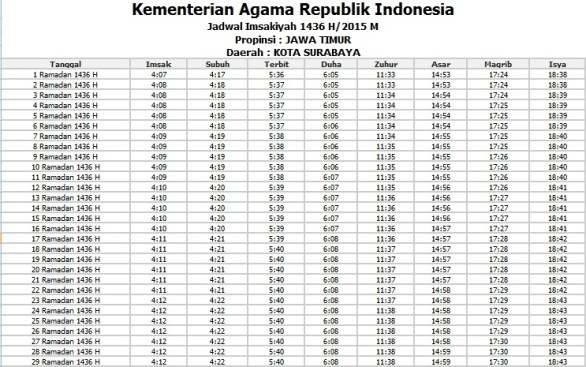 Jadwal Imsyakiyah Surabaya