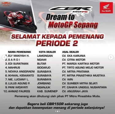 Nama Pemenang Dream to MotoGP Sepang 2019 - 1