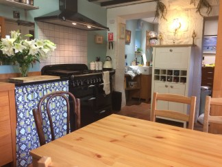 Dining kitchen at Pots and Pans Holiday Cottage, Uppermill, Saddleworth