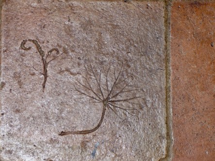 Handmade Cambodian floor tiles at Pots and Pans Holiday Cottage, Uppermill, Saddleworth