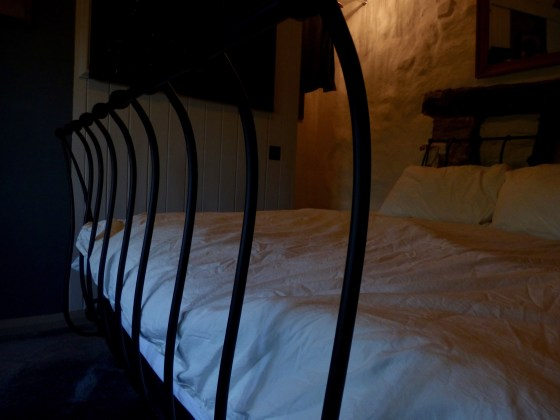 Double bed in master bedroom at Pots and Pans Holiday Cottage, Uppermill, Saddleworth