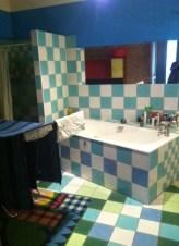 Spacious, tiled bathroom