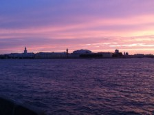 The sunset back towards Vasilievsky Island