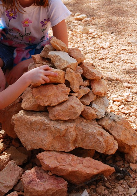 This was the first experience my daughters had with cairns. They loved it, and the oldest one got into putting a stone on any one she could find--usually doing something difficult to balance. These cairns were in the bottom of the canyon.