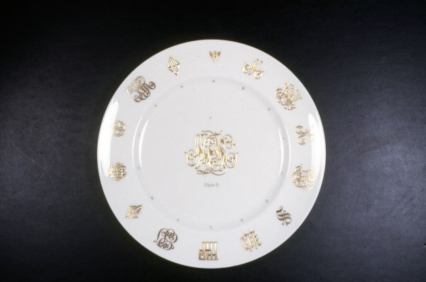 Lenox China Monogram Sample Plate showing styles that could be executed by Lenox's gilders, ca.1910