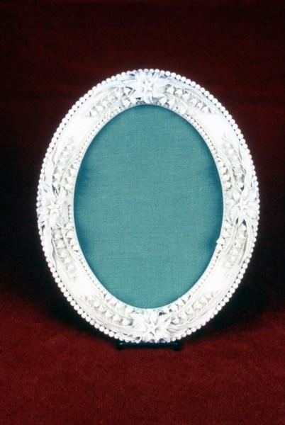 Ott & Brewer, Etruria Works, picture frame, belleek porcelain, NJSM 354.37