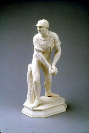Ott & Brewer, Etruria Works, statuette of The Catcher, parian, Isaac Broome, designer and modeller, 1875, H 15 in, Priv Coll