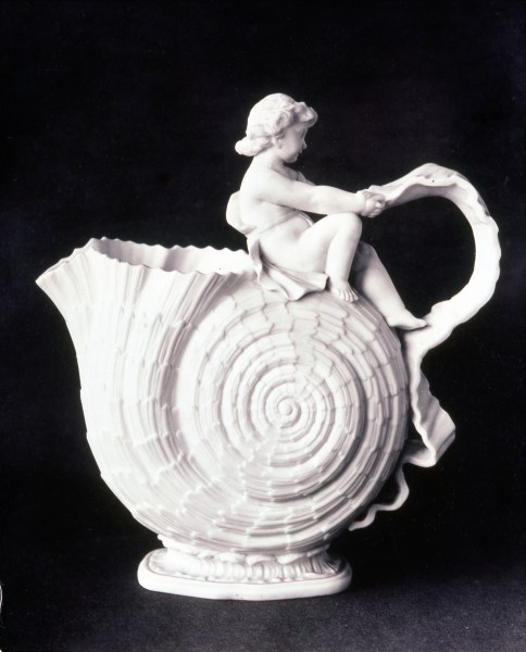 Willets Mfg Co, Cupid Jug, parian, Walter Scott Lenox designer, William Bromley modeller, 1887, H 9 in (historic photo)