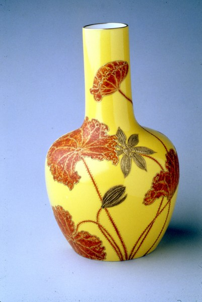 Willets Mfg Co, Vase, belleek porcelain, painted by James Callowhill, about 1900, H 10 in, Priv Collection