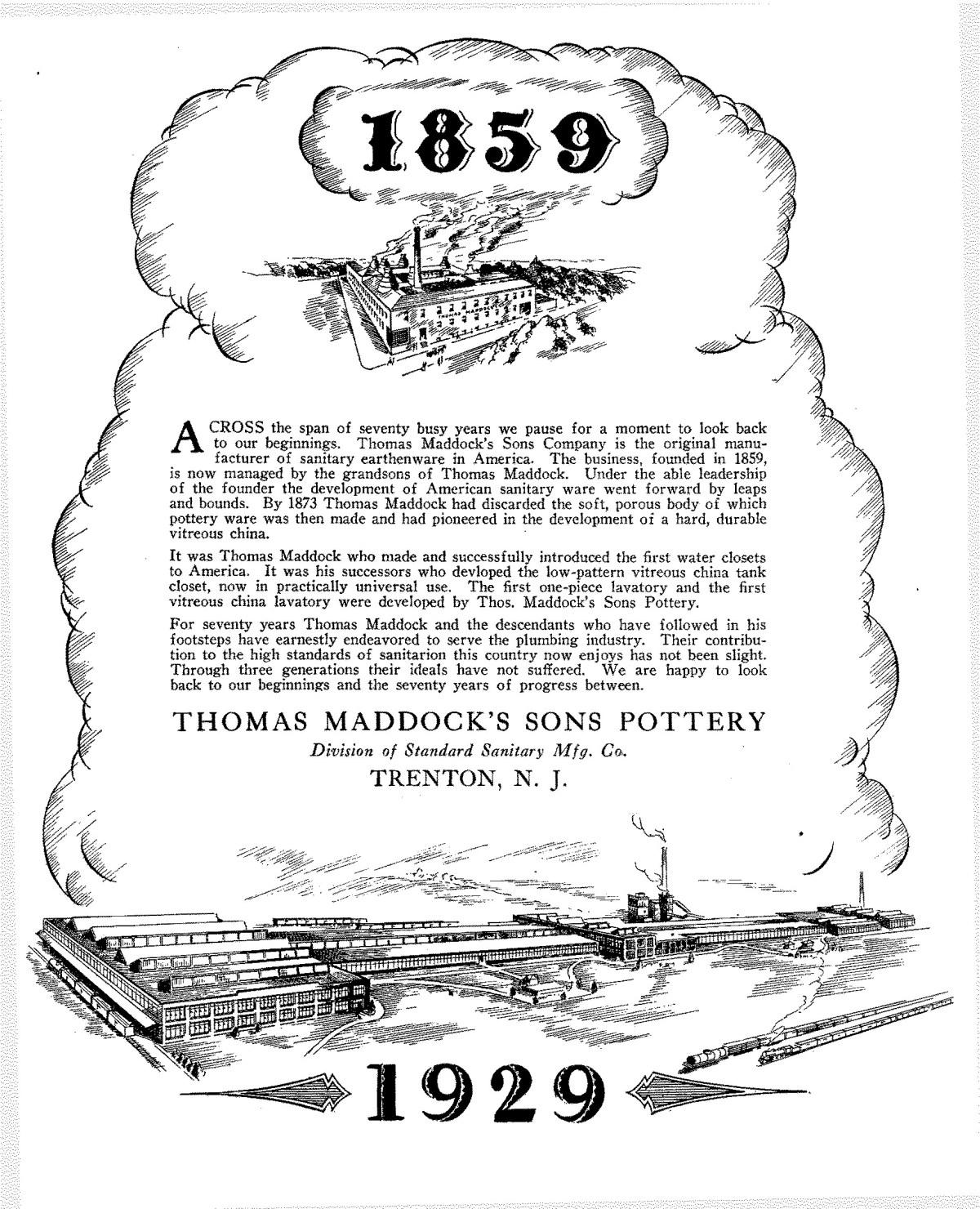 Thomas Maddock's Sons Pottery Advertisement