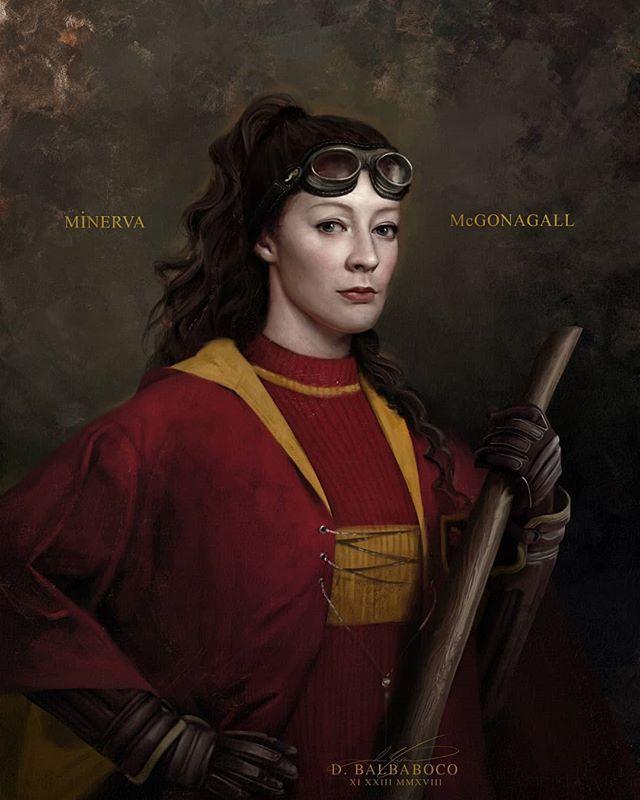 Obraz mladé Minervy McGonagallové s koštětem v levé ruce a v nebelvírském famfrpálovém úboru. Na čele má letecké brýle.