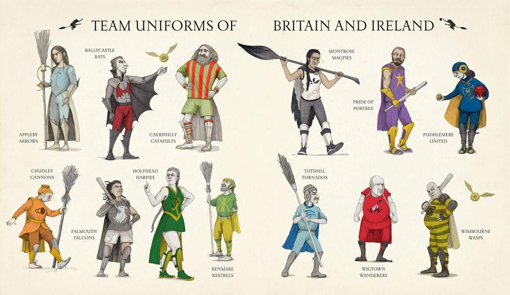 Dvojstránka s 13 hráči různých famfrpálových týmů v různobarevných uniformách.