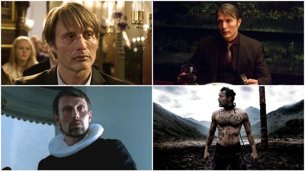 Obrázek je rozdělen do čtyř polí, v každém z nich je Mads Mikkelsen v jiné ze svých minulých rolí.