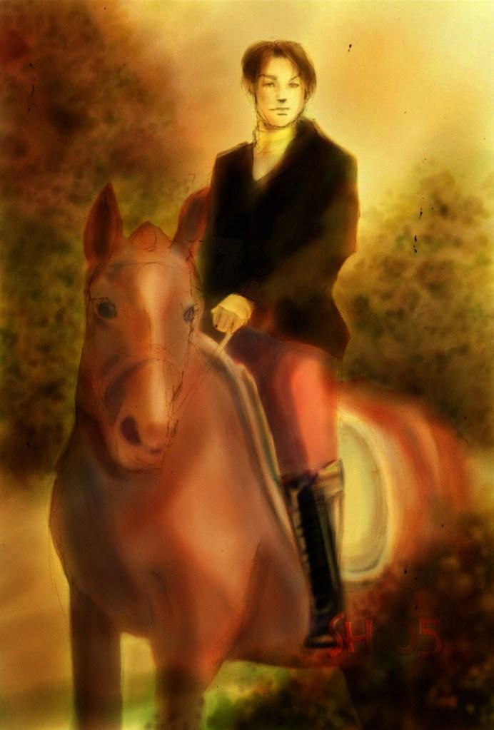 Fan art. Obrázek se světlými barvami. Pohledně vypadající muž v černém jezdeckém kabátu a červenými kalhoty sedí na ryzákovi.