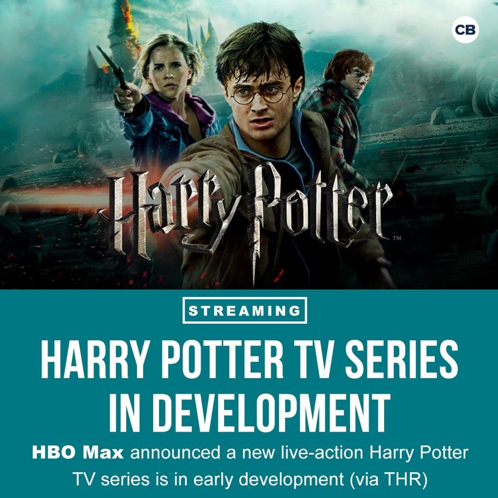 Upoutávka je rozdělená na dvě části. V horní ploše je poutač na sedmý díl filmu Harry Potter - uprostřed je zašpiněný Harry s napřaženou hůlkou před sebe, vlevo za ním je stejně zašpiněná Hermiona, také s napřaženou hůlkou (která patřila Bellatrix) a vpravo za Harrym je Ron, který se dívá kamsi do dáli. V dolní části je na modrozeleném pozadí bílý text na pěti řádcích: Streaming Harry Potter TV Series in Development. HBO Max announced a new live-action Harry Potter TV series is in early development (via THR).