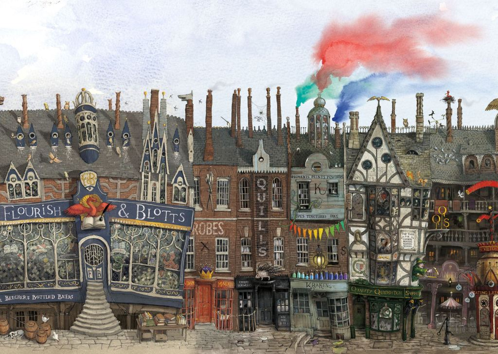 Kresba Příčné ulice z ilustrované knihy Harry Potter a Tajemná komnata od Jima Kaye.