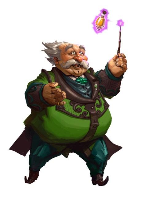 Fanart Horacia Křiklana. Křiklan je na tomto obrázku nakreslen jako obtloustlý mohutný muž s malými, krátkými nohami, obřím břichem a tlustýma rukama. Obě má zdvižené. V pravé drží tenkou hůlku. Hůlka kouzlem nadnáší lahvičku se žlutým lektvarem. Hlavu má Horacio kulatou, s velkým nosem, dozadu naježenými bílými vlasy a obřím bílým knírem. Jeho oblečení je laděné do zelena s hnědými prvky. Výraz v jeho tváři je dobrosrdečný.