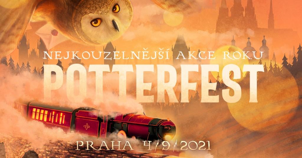 """Logo Potterfestu s žlutooranžovým pozadím. V levém rohu je křídlo a obličej sovy. Dole je červená lokomotiva Bradavického expresu s jedním vagónem. Celý vlak je obklopen párou - V pozadí jsou stíny bradavického hradu po celé délce obrázku. Střed pokrývá velký nápis """"Nejkouzelnější akce roku"""", na dalším řádku """"Potterfest"""" a uprostřed ve středu """"Praha 4/9/2021."""""""