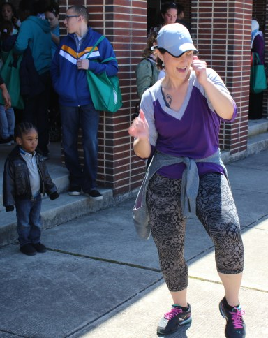 Zumba instructor Pam Kerestus dances during a demonstration as part of the combined PEAK Pottstown Celebrates Young Children and YMCA Healthy Kids Day event Saturday.