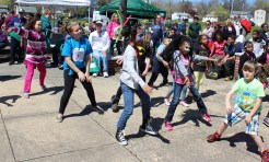 Children have fun dancing during the combined PEAK Pottstown Celebrates Young Children and YMCA Healthy Kids Day event Saturday at Pottstown High School.