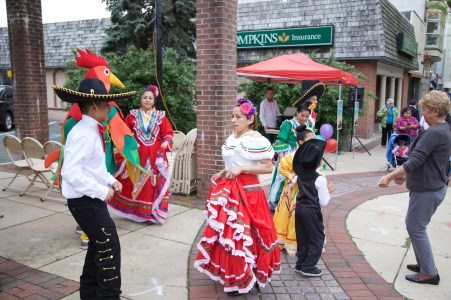 Dancers from the Centro Cultural Latinos Unidos organization perform at Mexican dance during the first Pottstown outdoor farmers market on High Street. Photo Courtesy of Patti Klein Photography
